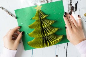 Cách làm thiệp giáng sinh cây thông 3D