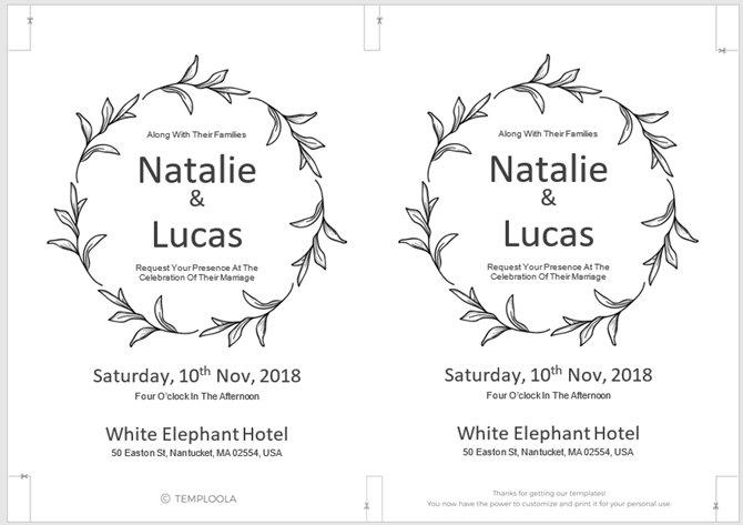 Mẫu thiệp mời đám cưới đơn giản
