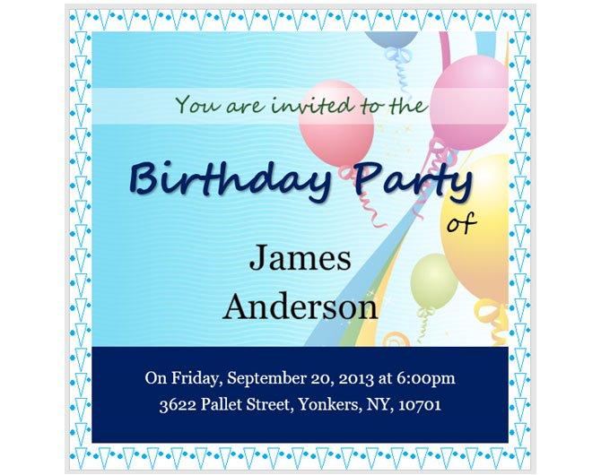 Mẫu thiệp mời tiệc sinh nhật với theme bóng bay