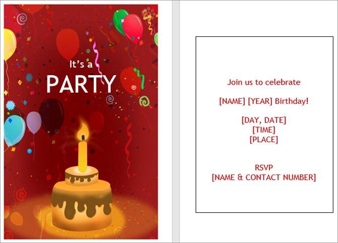 Mẫu thiệp mời sinh nhật có thể in được