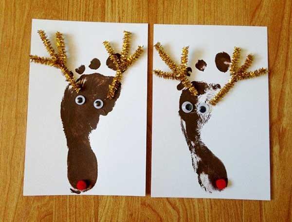 Thiệp Giáng sinh tự vẽ bằng bàn chân