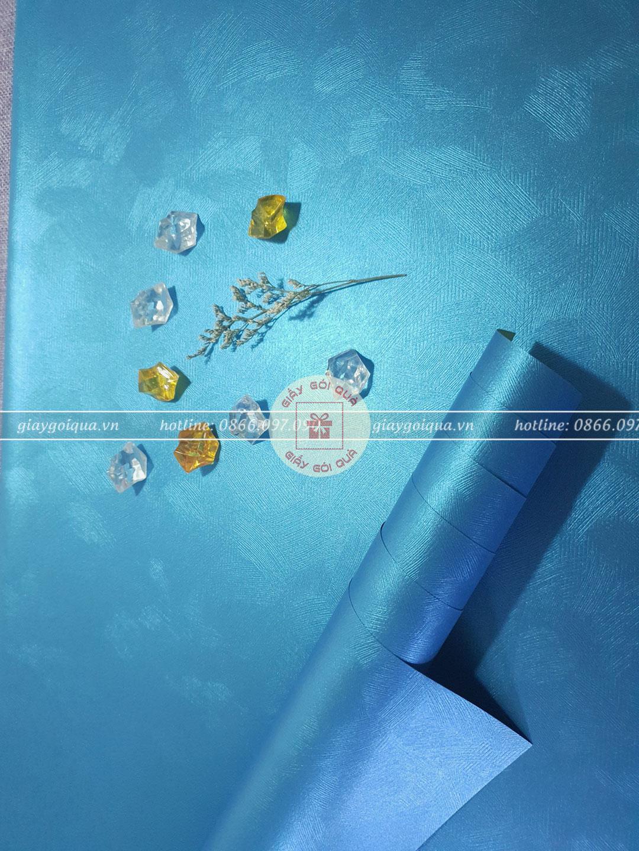 Giấy gói quà cao cấp sợi len màu xanh dương